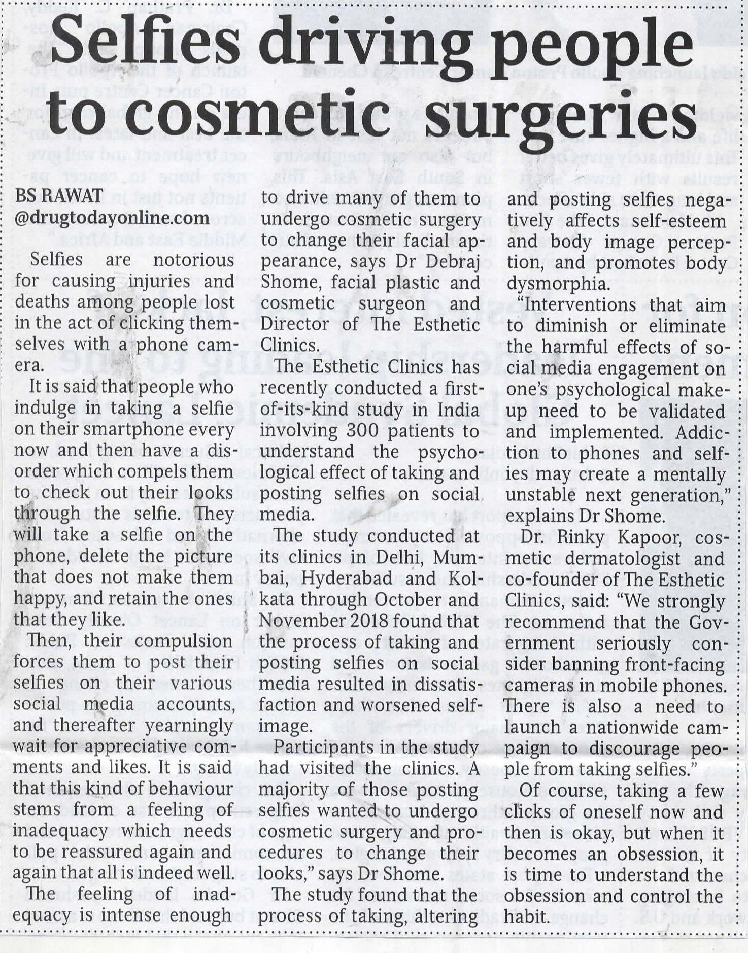 Selfies Driving People To Cosmetic Surgeries - Medical Times