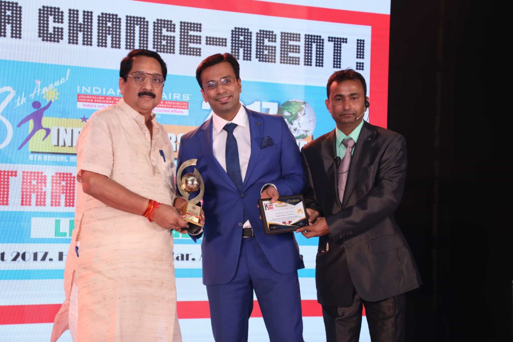 "Dr. Debraj Shome was awarded as the ""Indian of the Year"" at the Healthcare Forum at the Indian Leadership Conclave in August 2017"